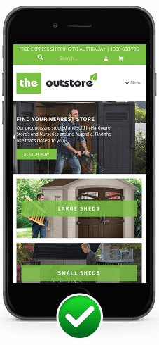Image for mobile responsive website design for The Out Store