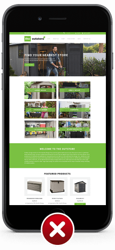 Image for non-mobile responsive website design for The Outstore