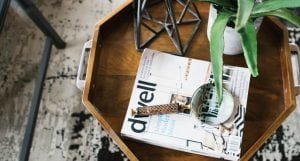 Image of Dwell Magazine on small coffee table