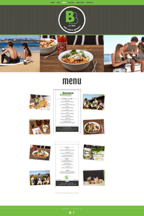 Image of the Eat More Green website design - menu page