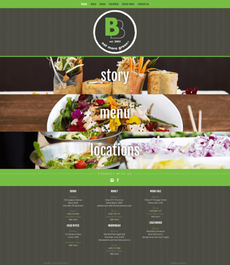 Image of the Eat More green web design - home page