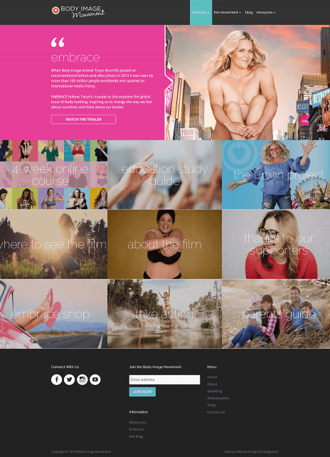 Image of the Body Image Movement website - secondary page