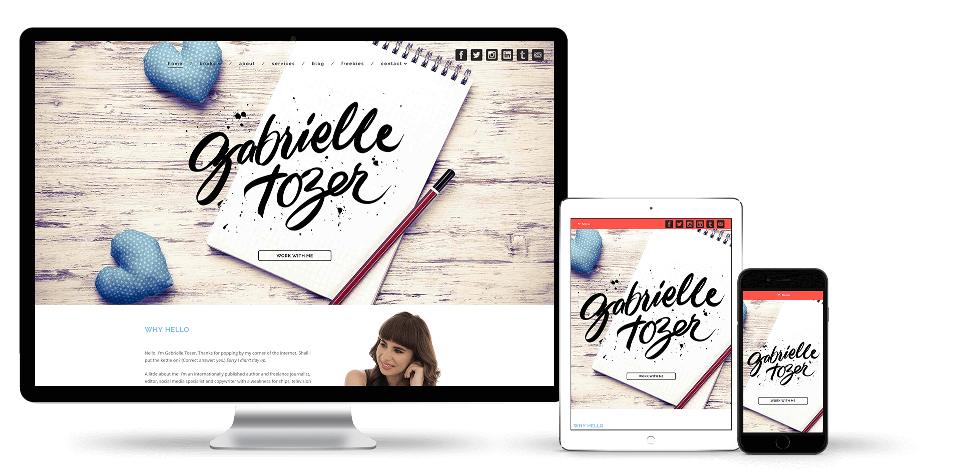 Image of the Gabrielle Tozer website design on a desktop, laptop and smart phone