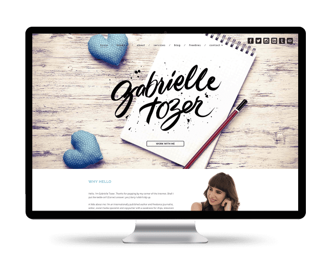 Image of the Gabrielle Tozer website design on a desktop