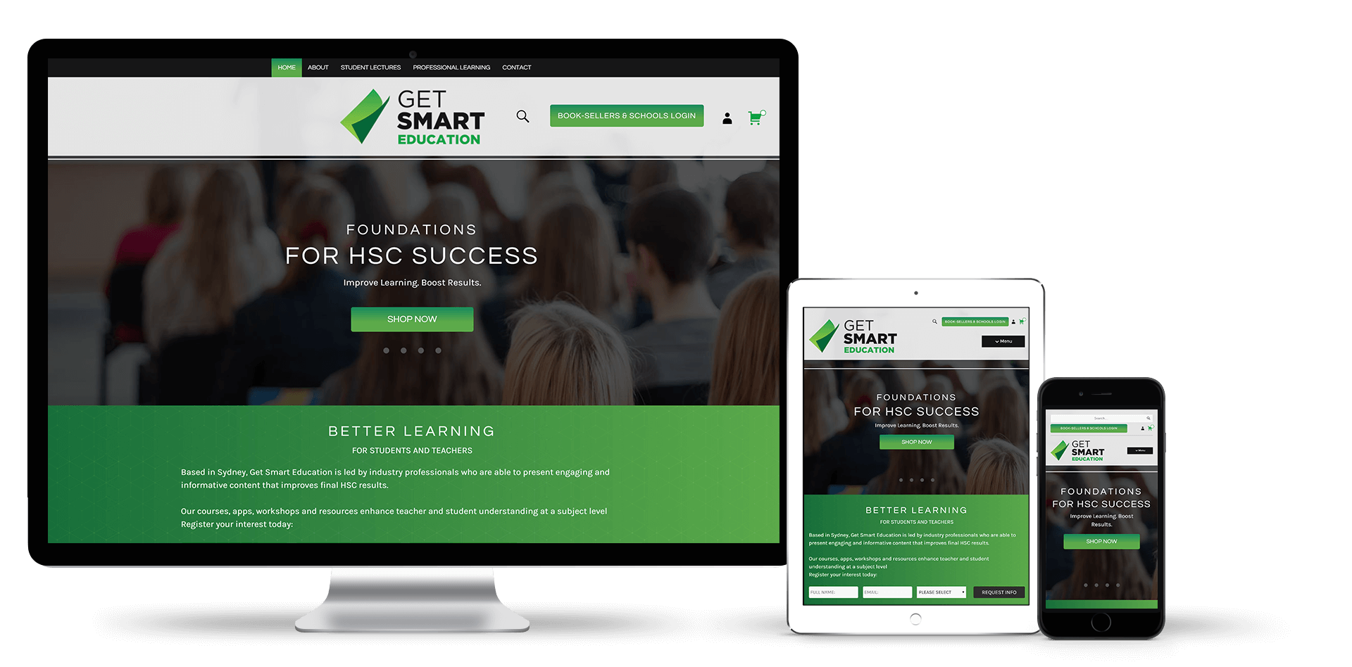 Image of the Get Smart Education website design on desktop, tablet and smart phone