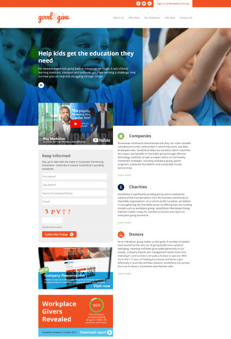 Image of the Good 2 Give website design - home page