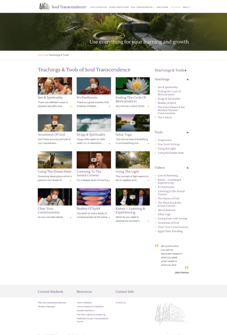 Image of the MSIA Australia website design - teachings page