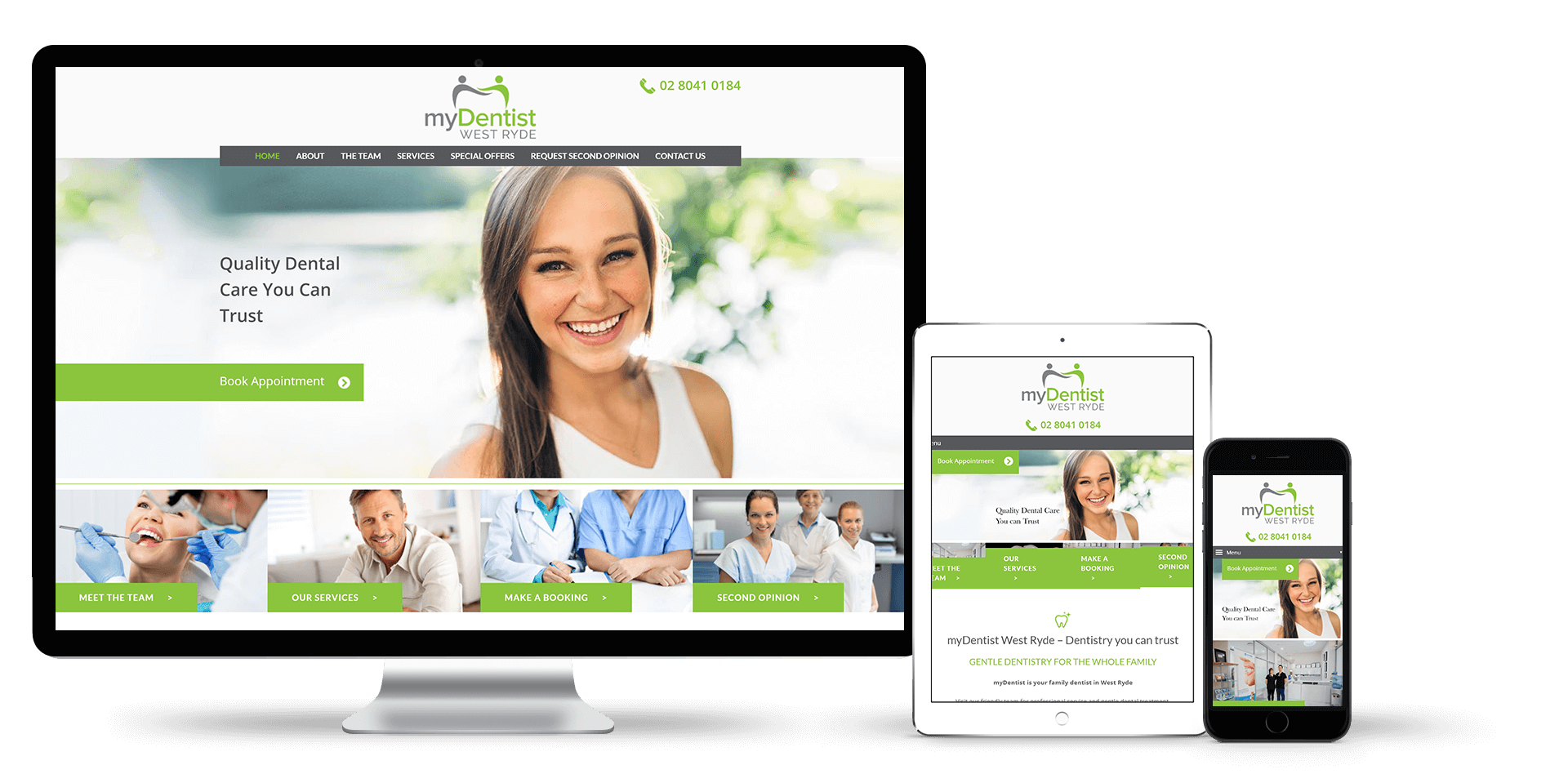 Image of the My Dentist West Ryde web design on desktop, tablet and smart phone