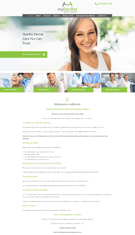 Image of the My Dentist West Ryde website design - home page