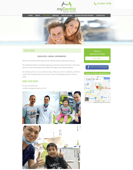 Image of the My Dentist West Ryde website design - team page