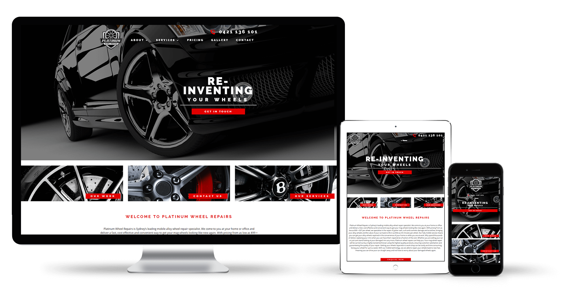 Image of the Platinum Wheel Repairs website design on a desktop, laptop and smart phone