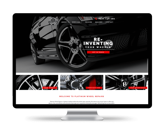Image of the Platinum Wheel Repairs website design on a desktop