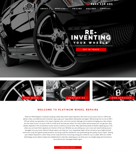 Image of the Platinum Wheels website design - home page