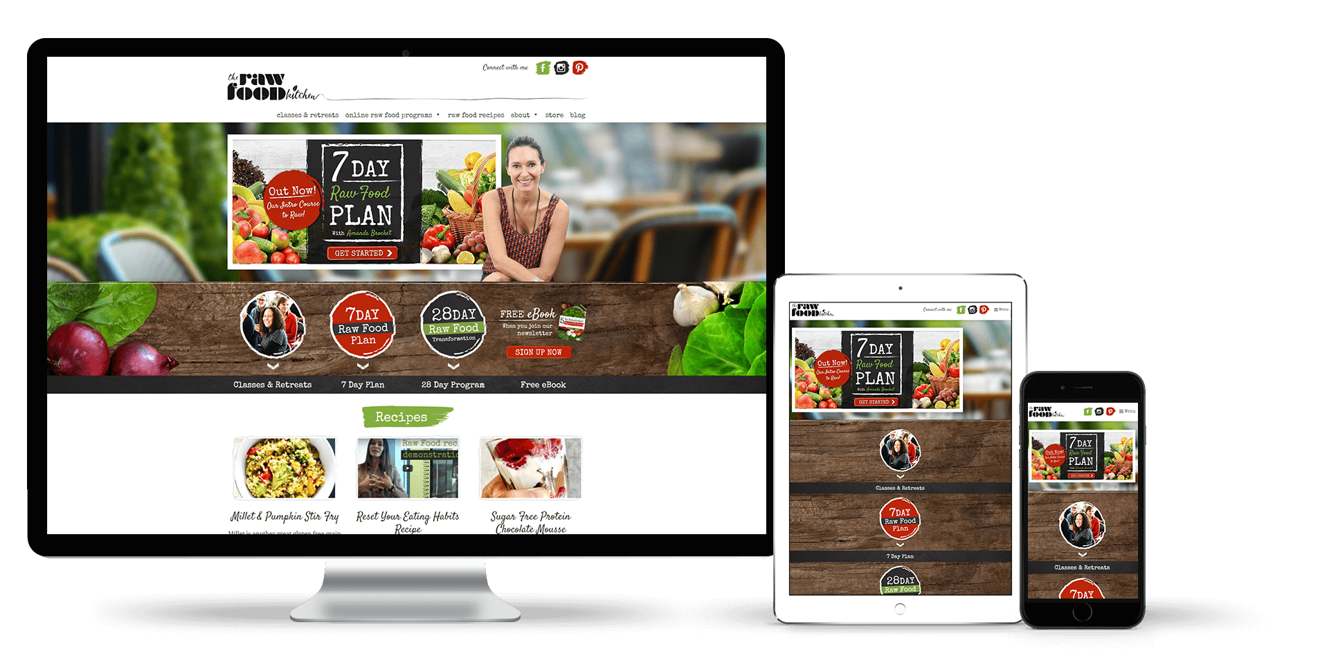 Image of The Raw Food Kitchen website on a desktop, tablet and smart phone