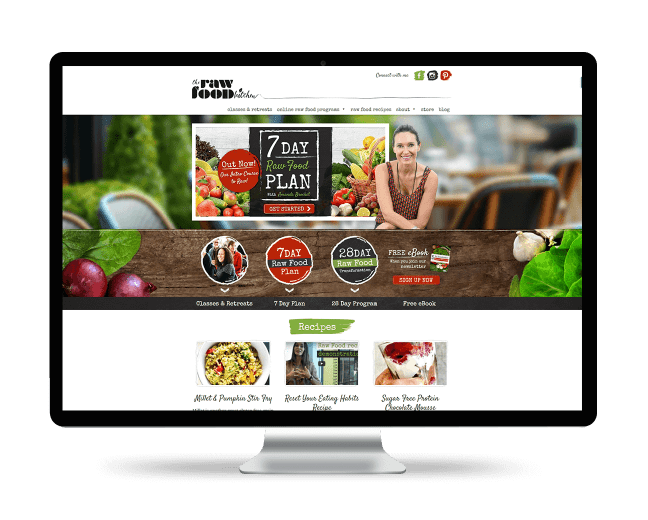 Image of The Raw Food Kitchen website on a desktop