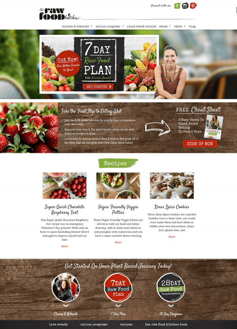 Image of the Raw Food Kitchen website design - home page