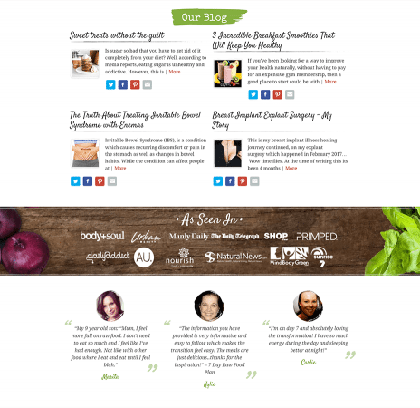 Image of the Raw Food Kitchen website design - blog page