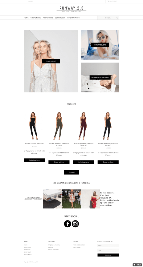 Image of the Runway 2 3 ecommerce web design - home page